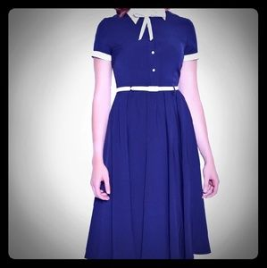 Collectif navy blue swing dress